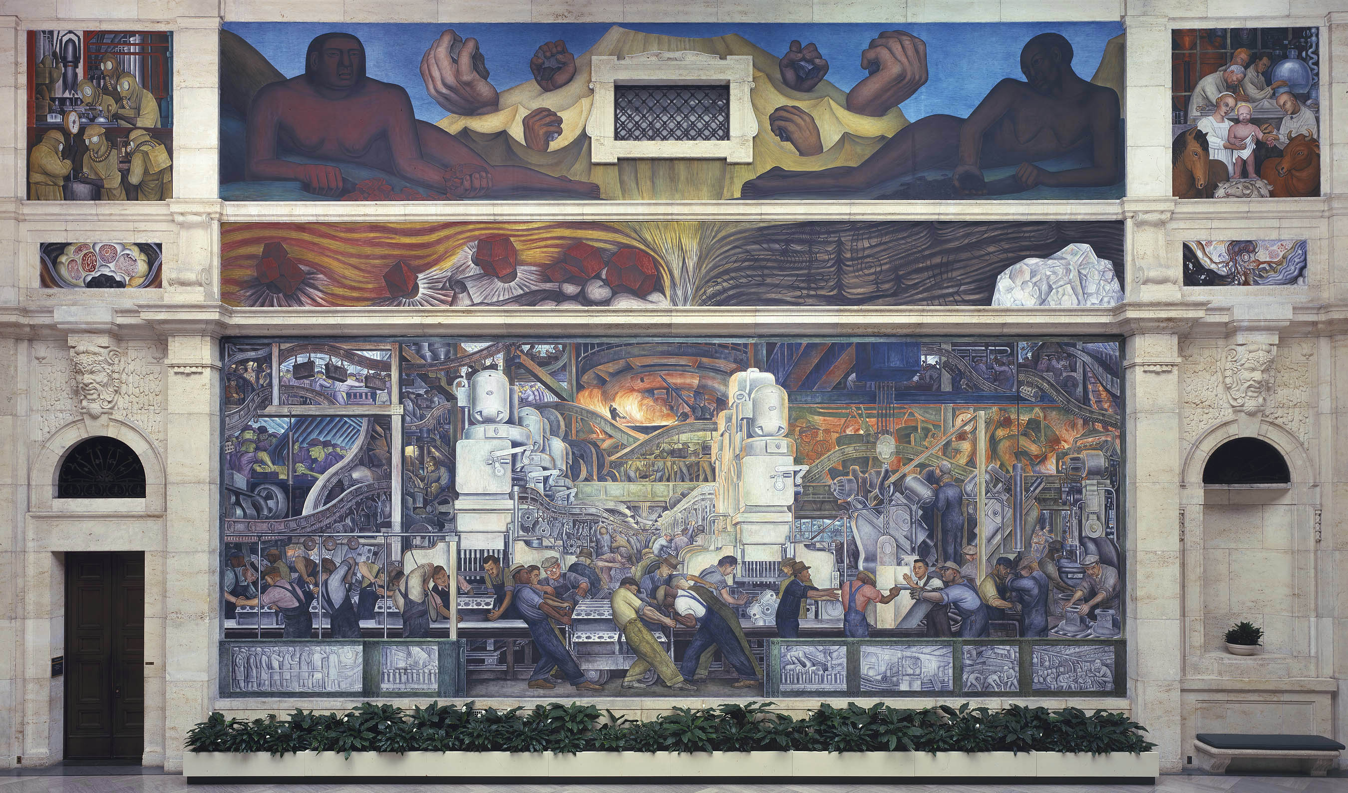 The detroit industry murals by diego rivera about place for Mural de rivera