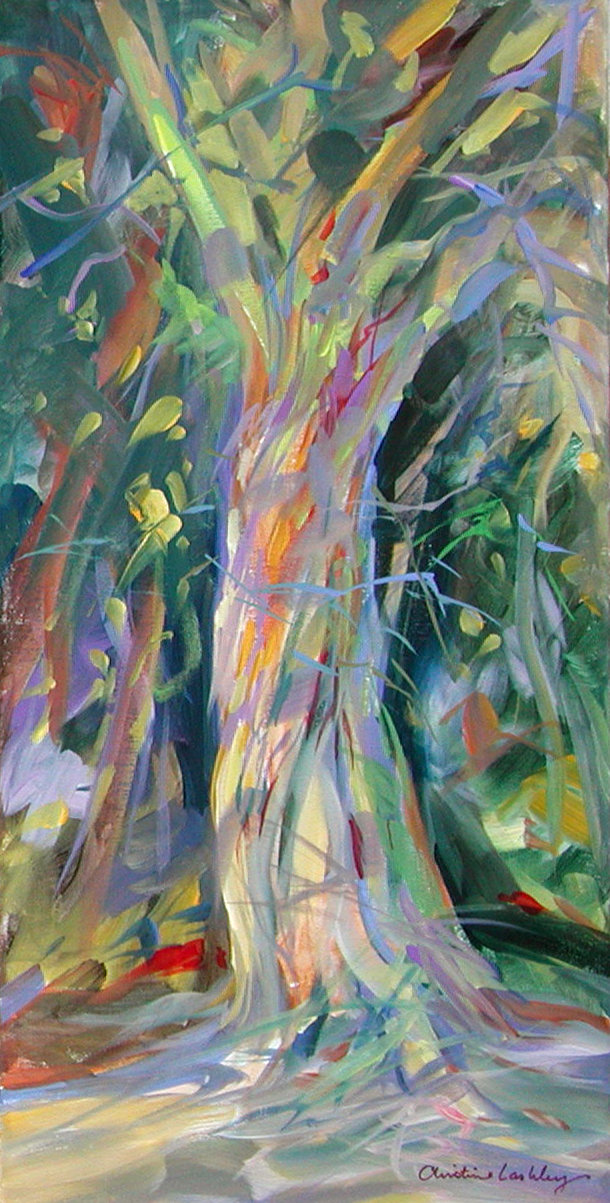 "Christine Lashley, ""Trunk Impressions"", acrylic on canvas, 20"" x 12"" private collection"