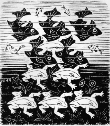 """M.C. Escher """"Fish and Frogs"""" 1949"""