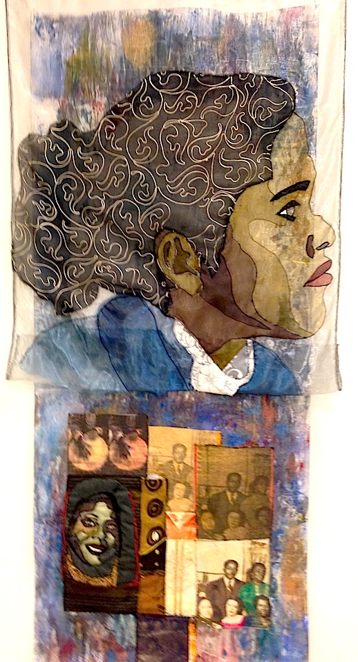 """Forced Immigration"" Chloe Spear: Washer General Quilted Chronicles series Medium: silk, nylon and hand dyed cloth, machine pieced by L'Merchie Frazier"
