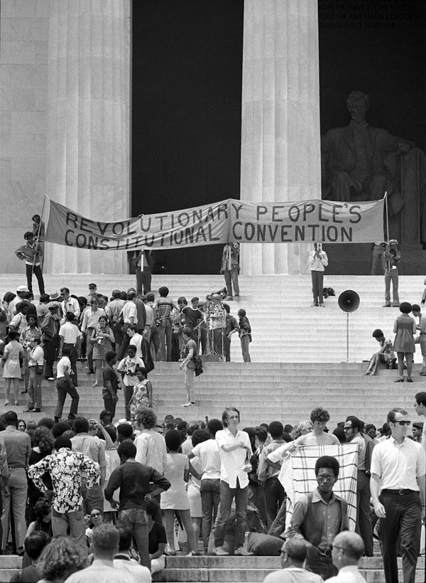 June 19, 1970: Juneteenth Rally for the Revolutionary People's Constitutional Convention at the Lincoln Memorial. Photograph by Thomas J. O'Halloran and Warren K. Leffler.