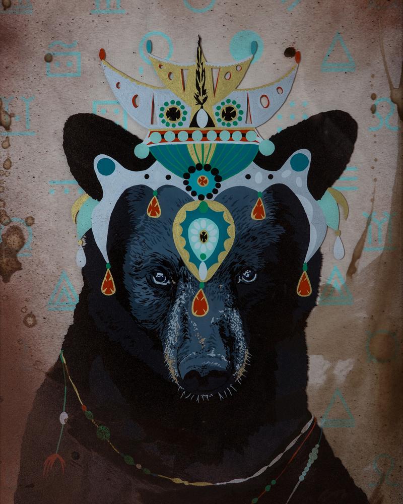 """Bear Shaman"" Enamel on Glass/ Mixed Media, 22"" x 28"", 2014"