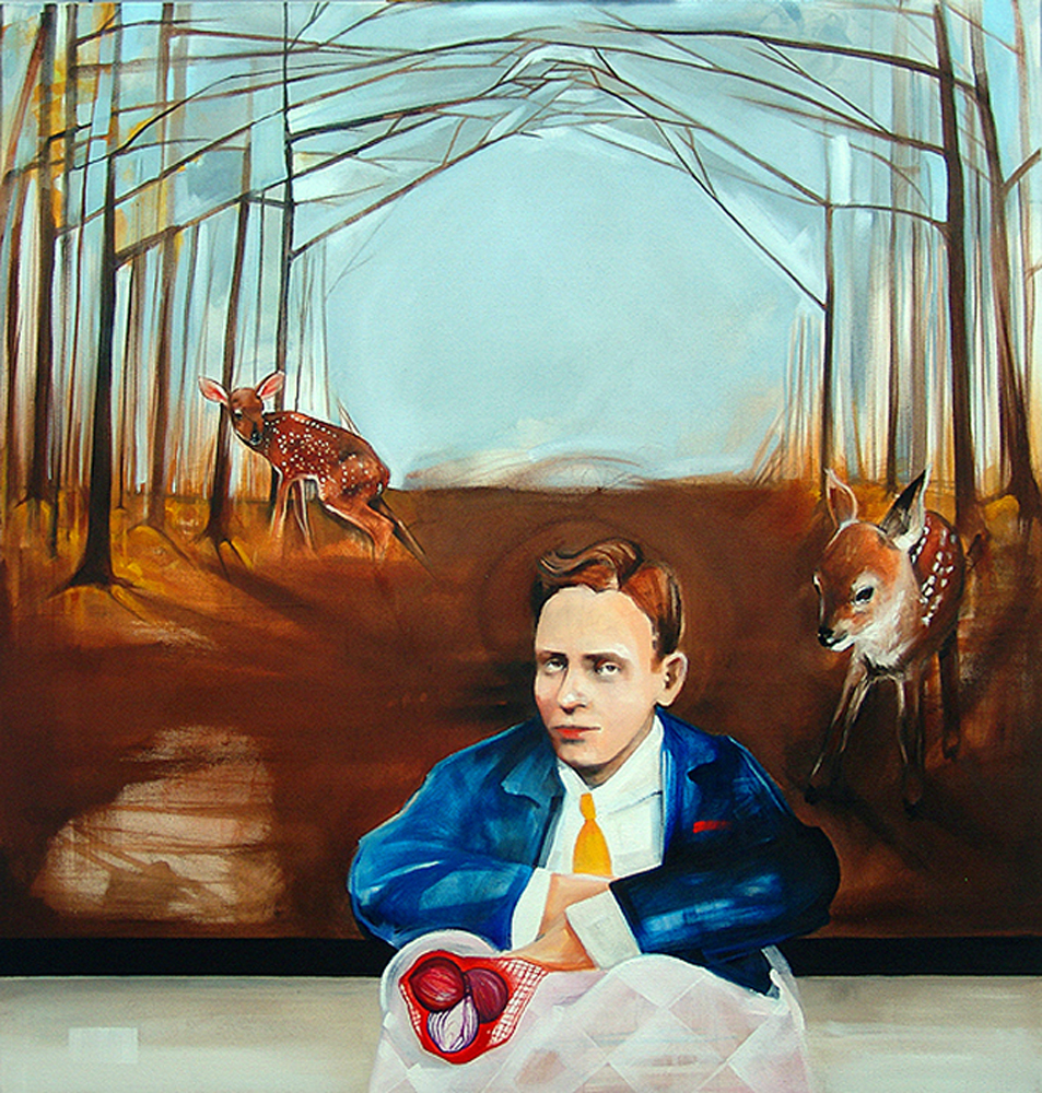 """Archie Powell and the Onions,"" Oil on canvas, 40"