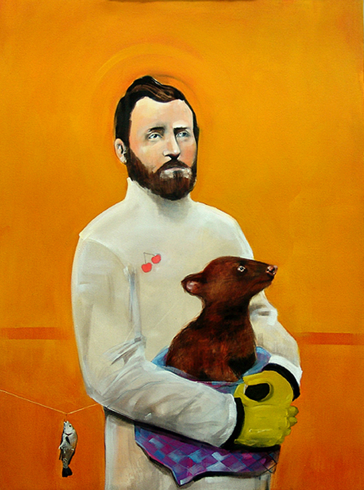 """Grant & the Sheepshead,"" Oil on canvas, 35"