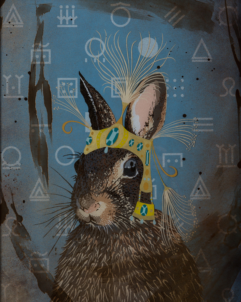 """Cottontail Shaman"" Enamel on Glass/ Mixed Media, 22"" x 28"", 2014"