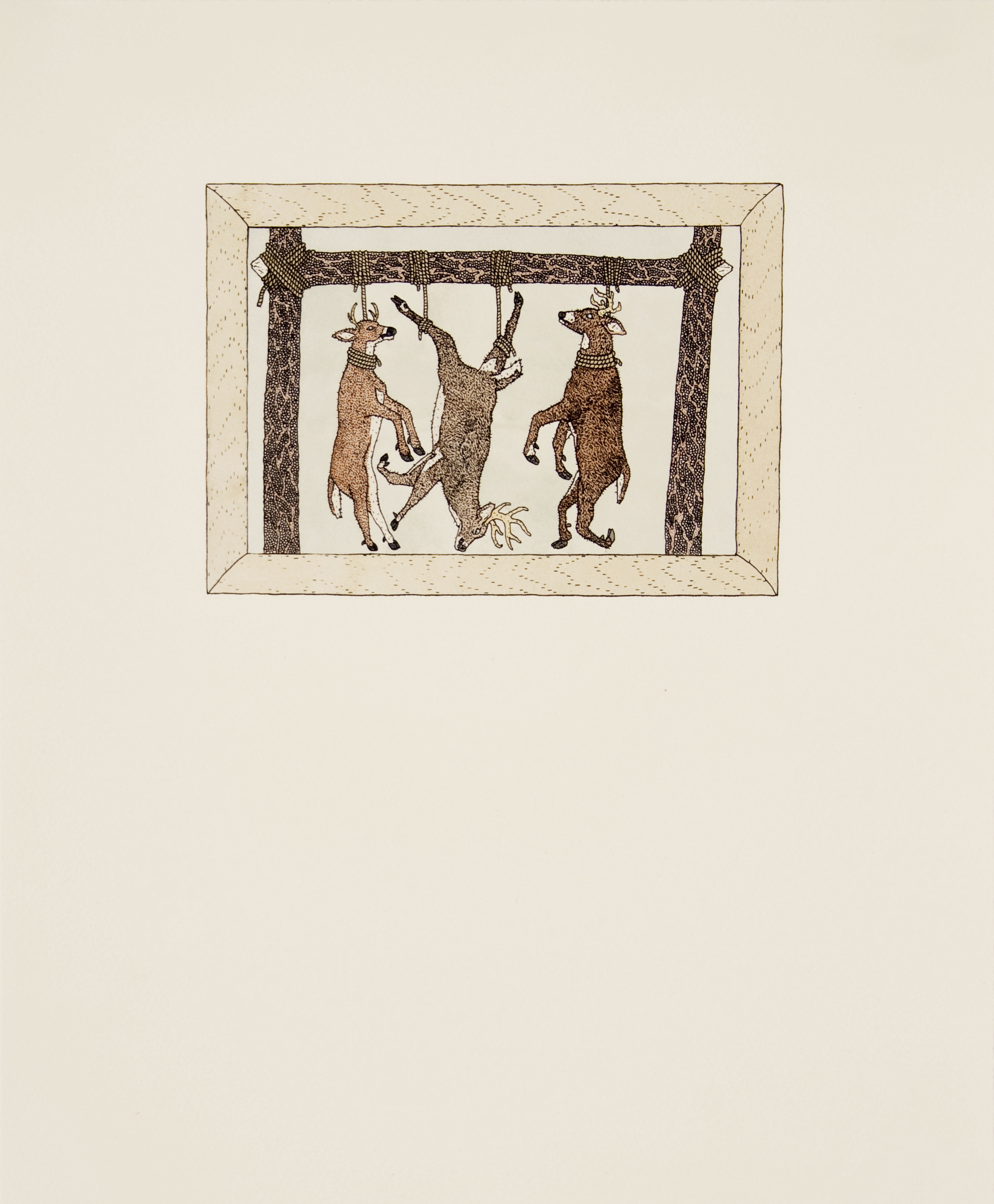 """3 Deer"" by Patrick Smyczek. Screen print and watercolor, 16.5"" x 20"" (2012)"