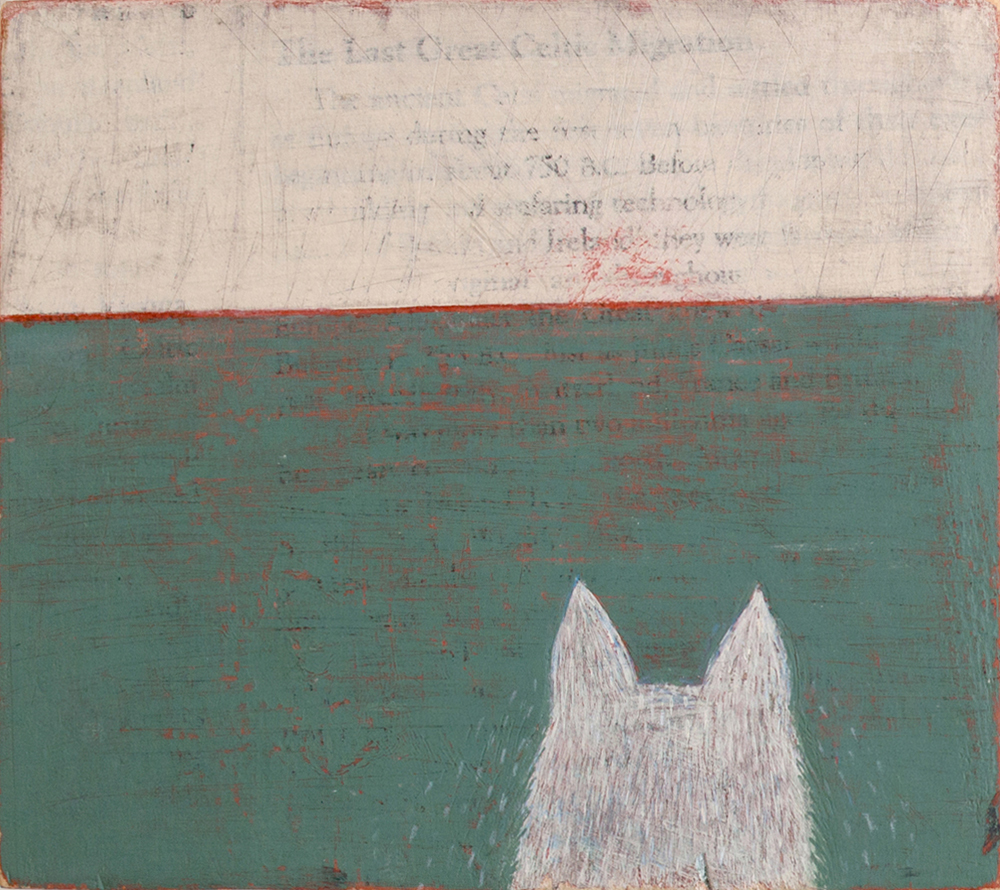 """""""Legend of Roy"""" by Bill Porter. Acrylic house paint and transferred ink on wood, 7.5″ x 6.5″, (2014)"""