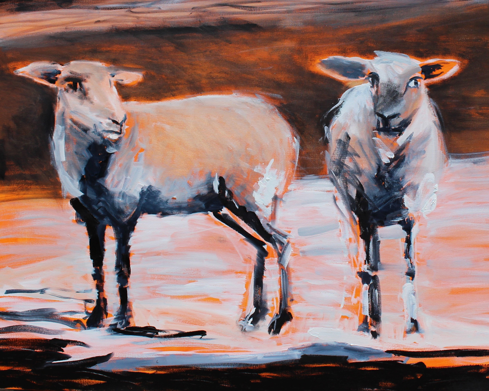 """Untitled"" [2 Sheep] by Melissa Dold. Oil on canvas, 34""x42"", (2016)"