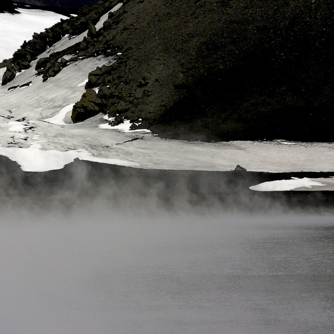 snow and fog on shoreline of Whaler's Bay and Deception Island