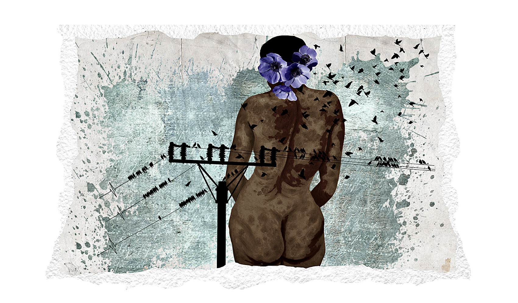 collage of nude black woman with telephone lines and blackbirds