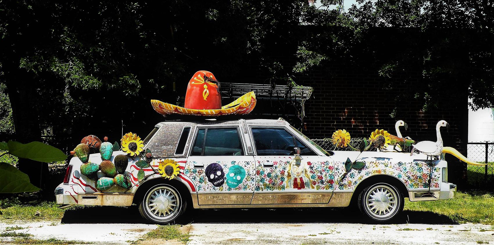 photo of decorated car - Cultura on Wheels by Anjela Villarreal Ratliff