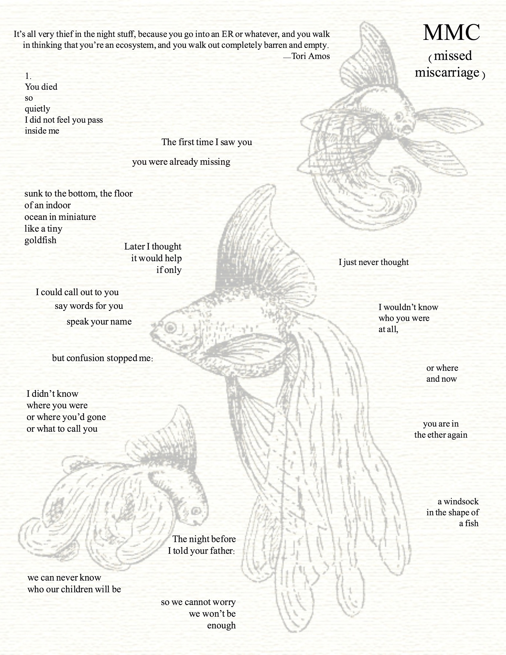 poem referencing miscarriage superimposed over illustrations of goldfish