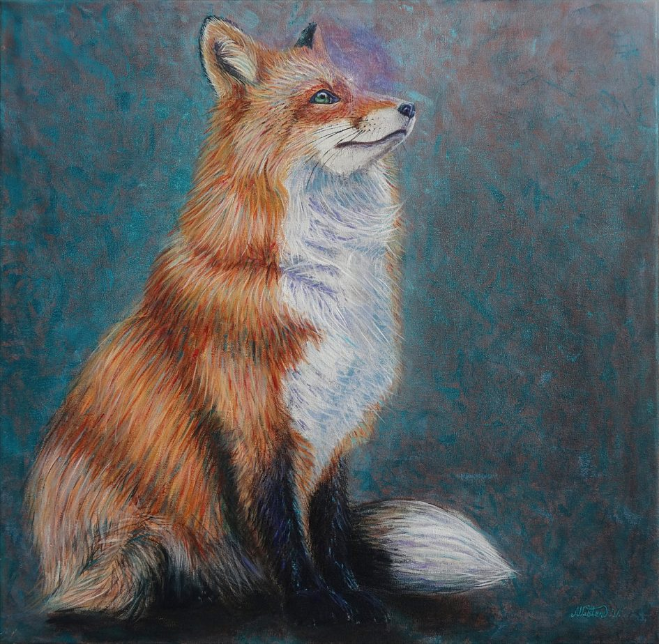 painting of a beautiful red fox