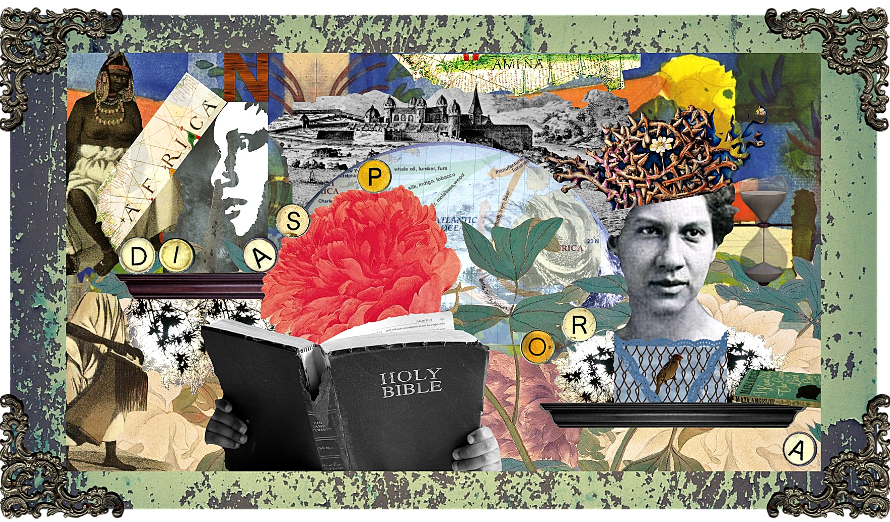 mixed-media collage 'Word to the Motherland' by Andrea Walls