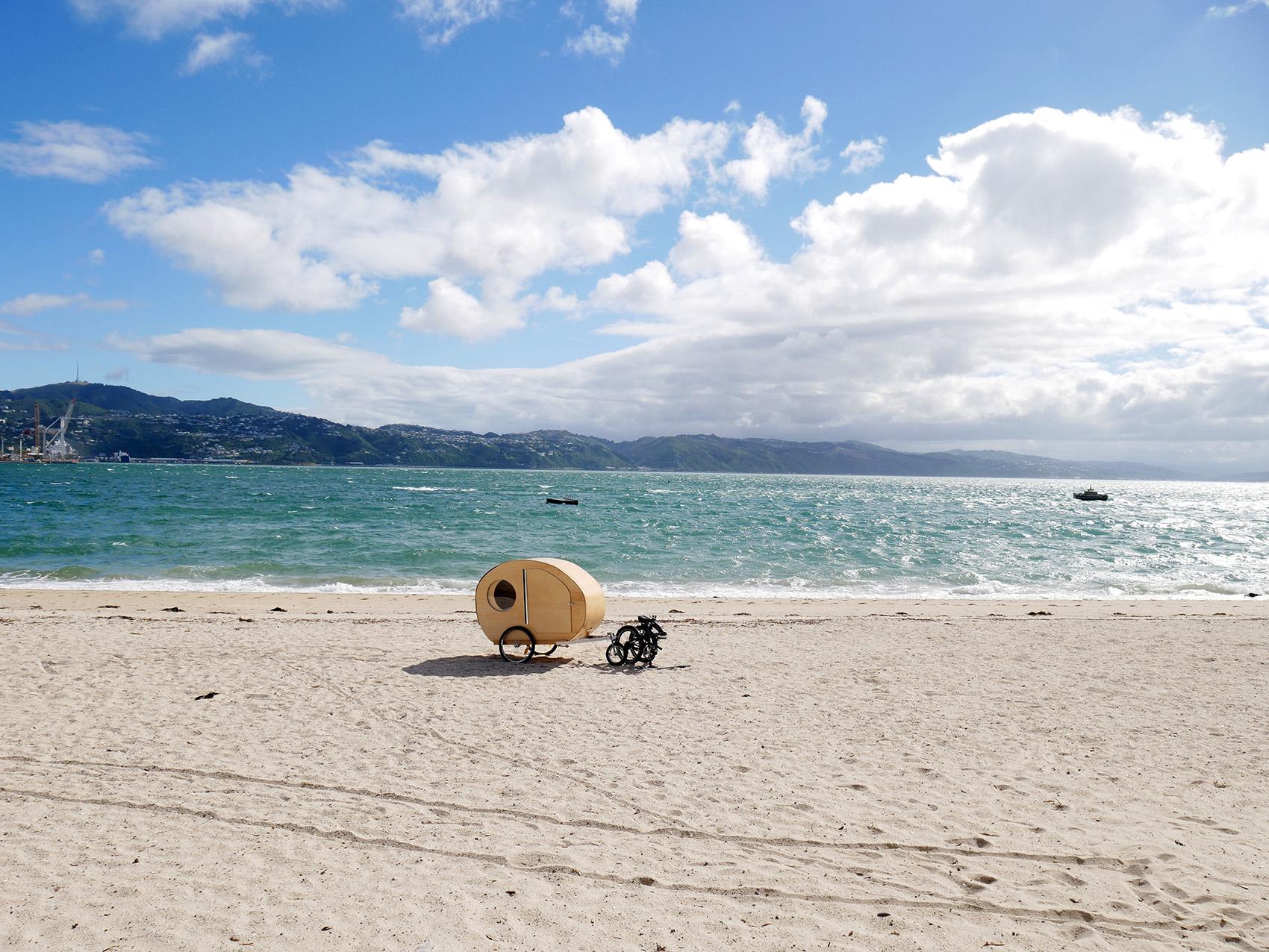 Caravan on beach at Wellington Waterfront