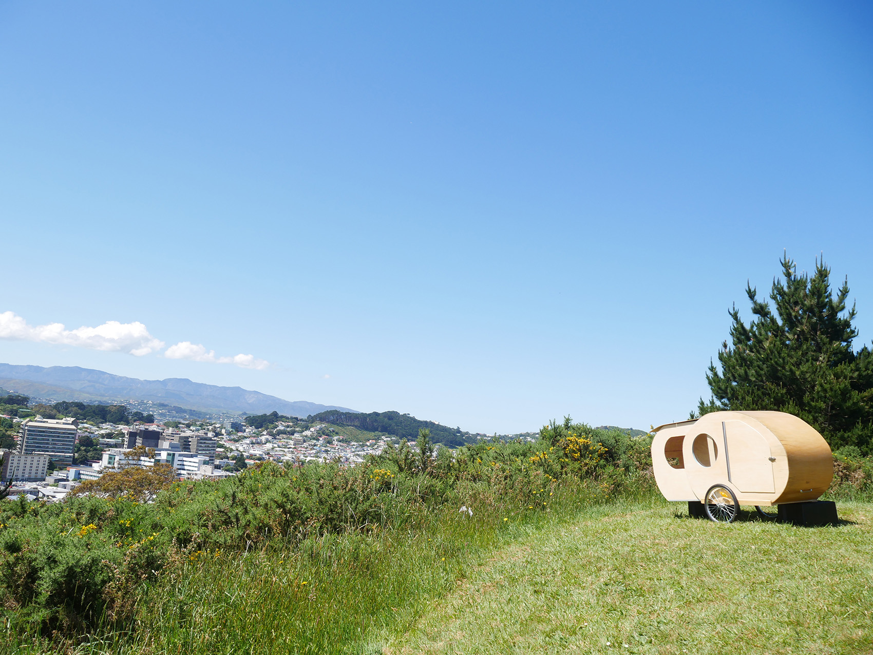 Caravan overlooking town of Wellington