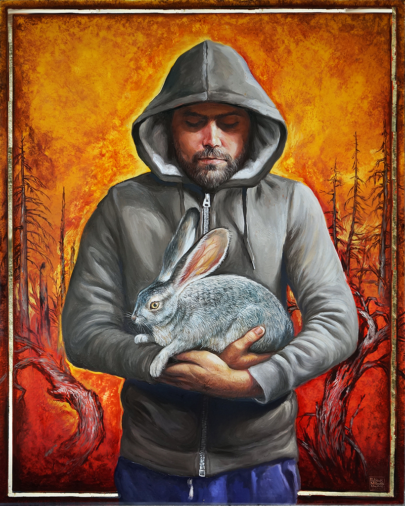 painting of man in hoodie holding wild rabbit in front of fiery landscape