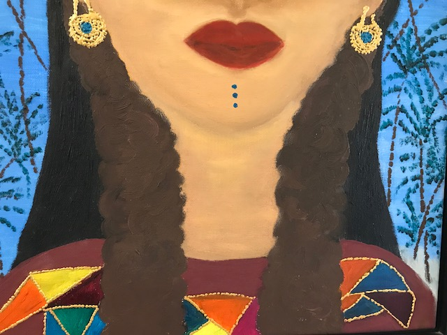 painting of the lower half of a woman's face