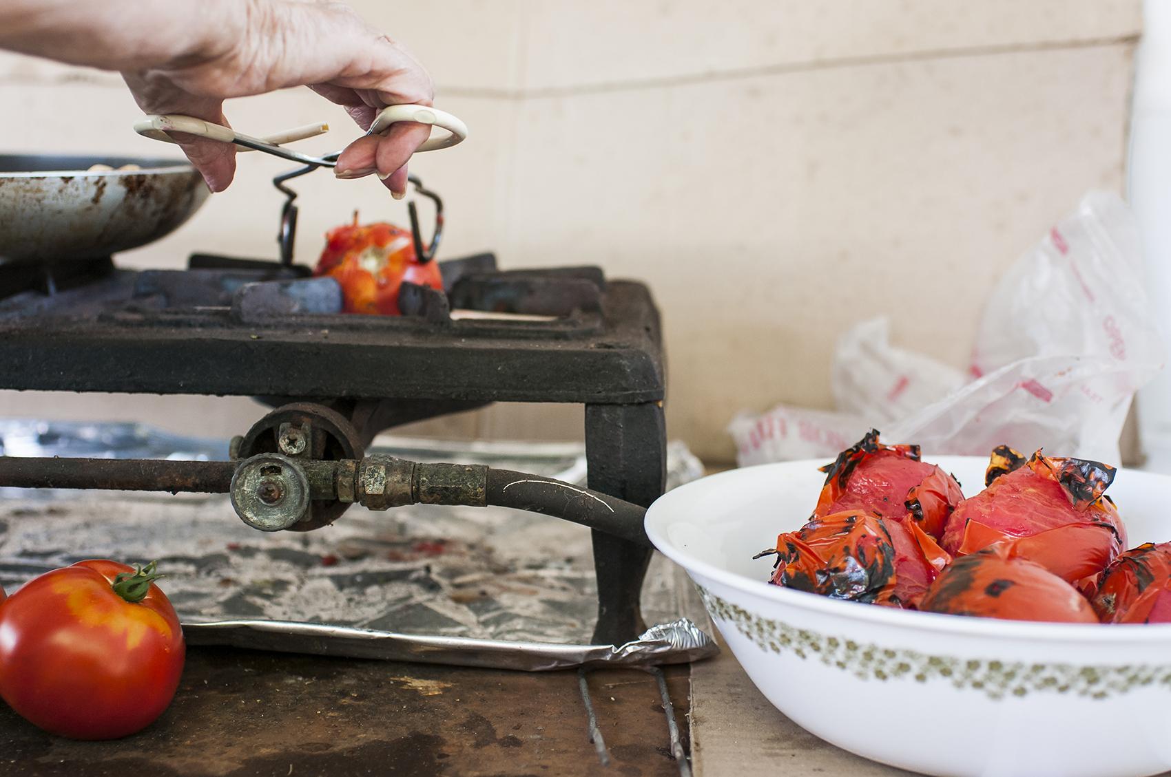 close up photo of Abuela roasting tomatoes