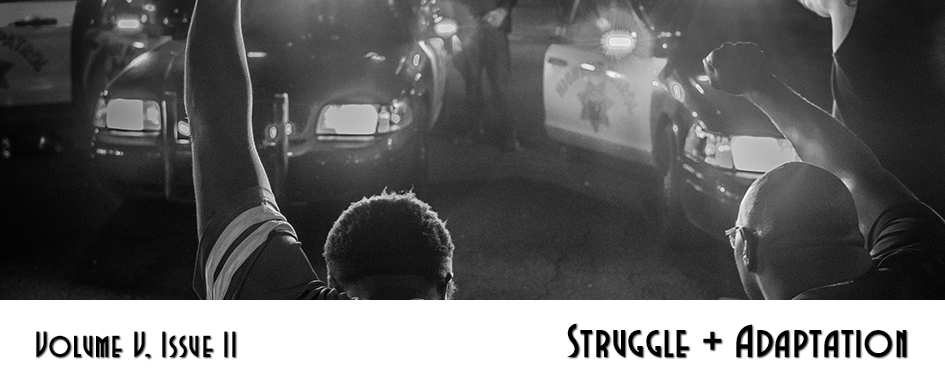 Section 4: Struggle + Adaptation - photo of two men of color kneeling before police vehicles