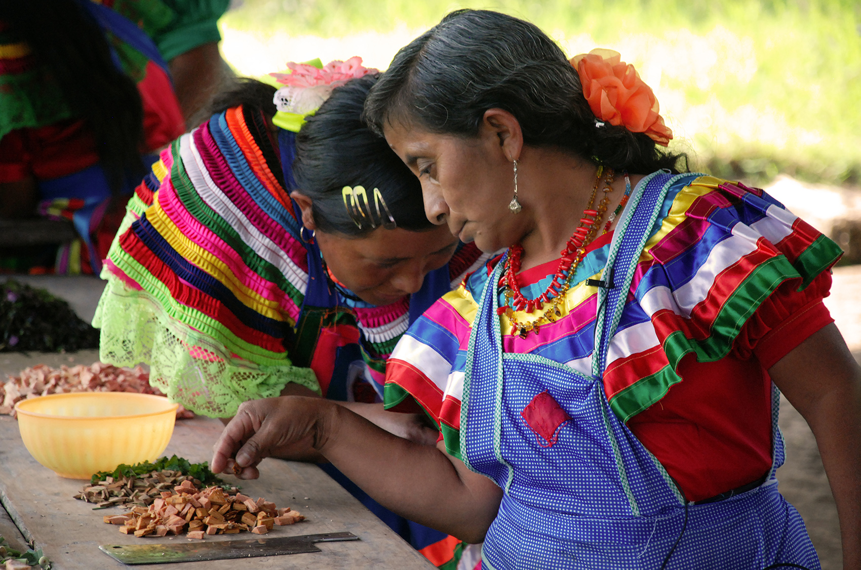 colorful photo of two women traditional healers in Chiapas Mexico