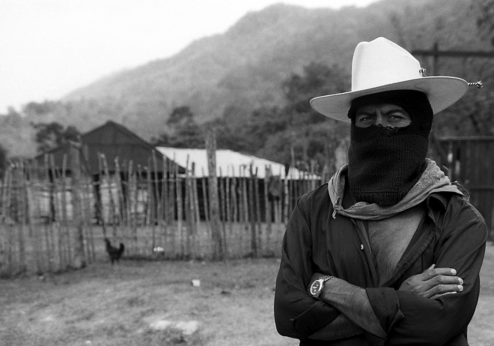 black and white photo of Zapatista Comandante in Chiapas Mexico