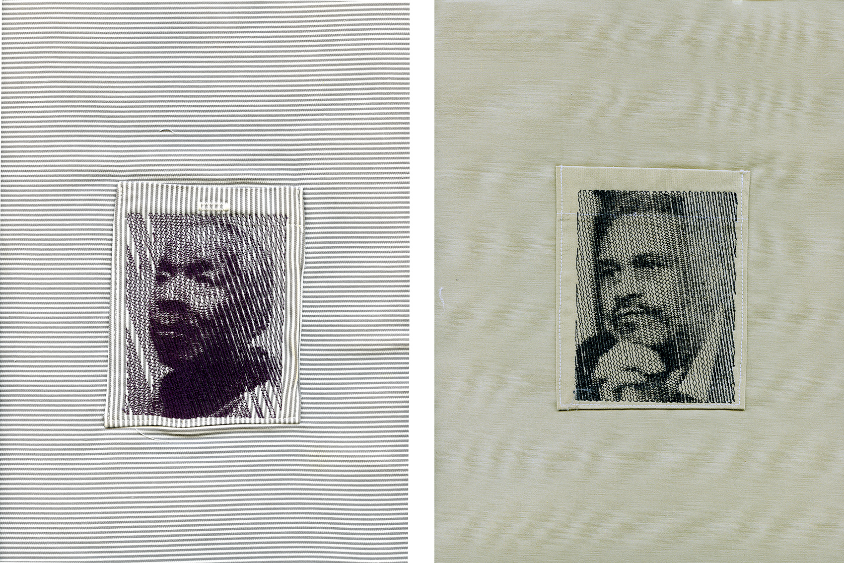 Machine-embroidered portraits of Glenn Ford and Anthony Hinton