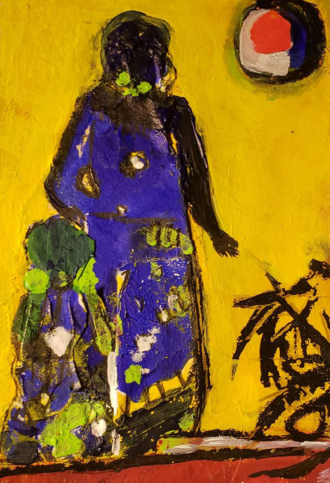 vibrant abstract painting of a mother and daughter in a yellow landscape