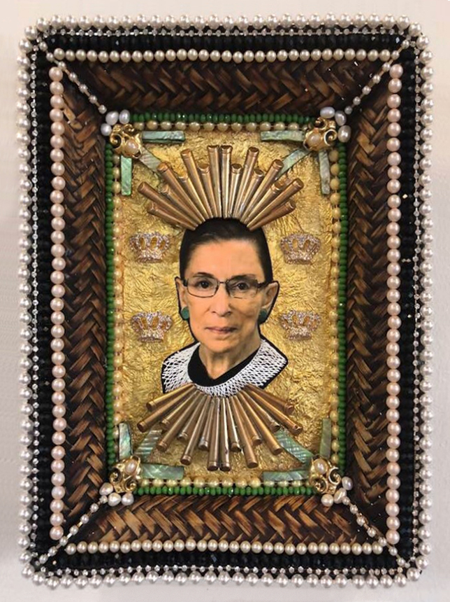 photo of Ruth Bader Ginsburg in a handcrafted frame