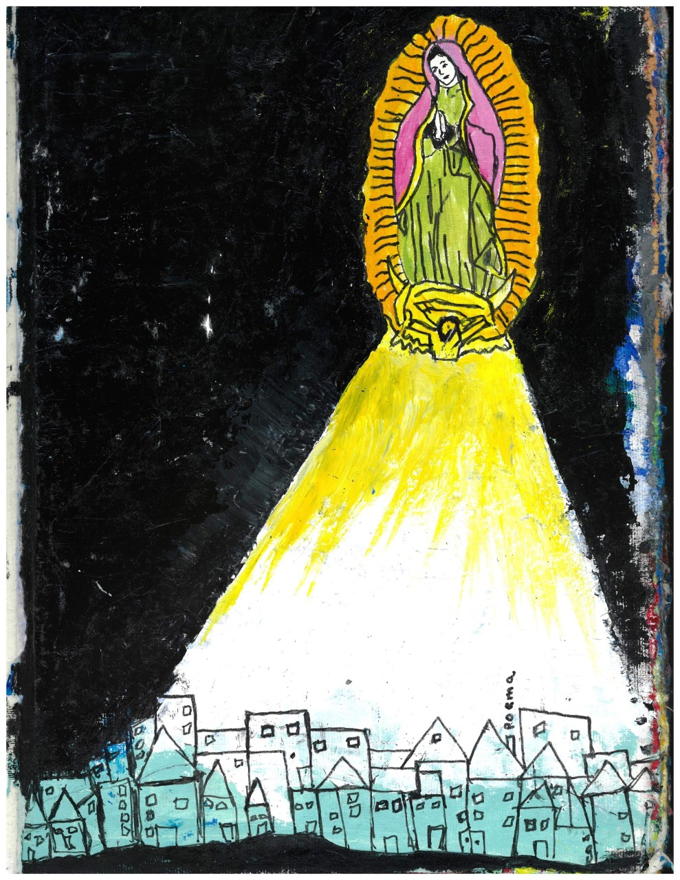 rough painting of the Virgin Mary above sketched houses