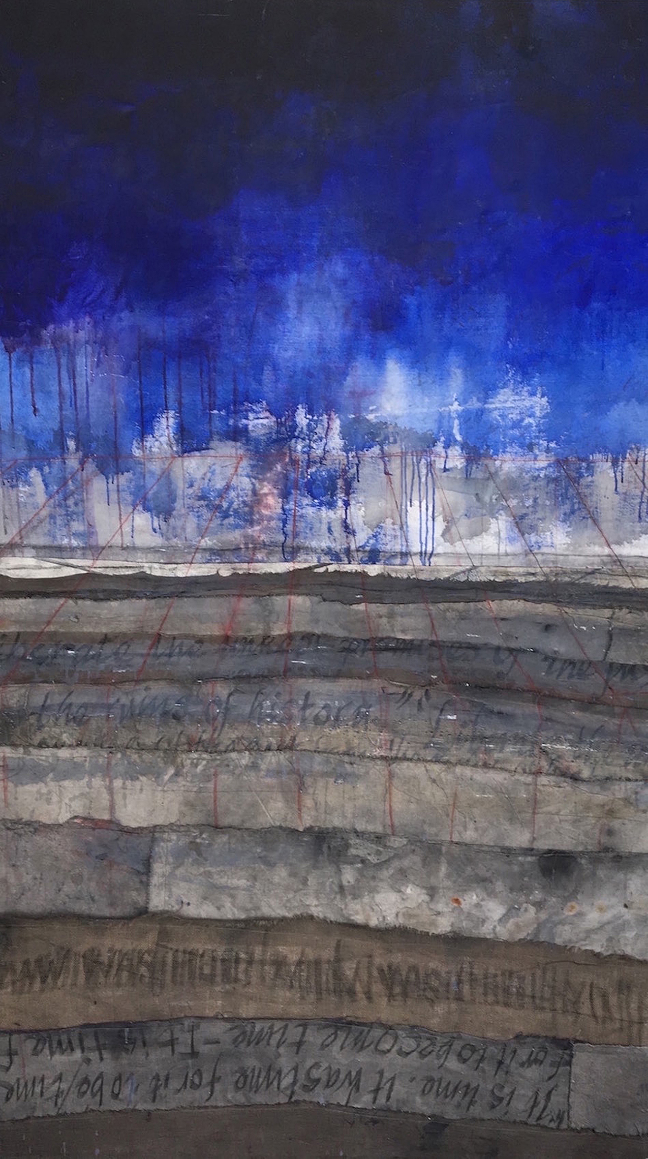 abstract landscape painting featuring dark blue, gray and brown, stratified