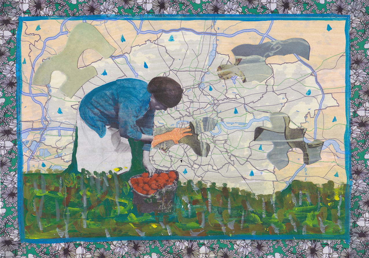 collage featuring stooped woman picking fruit with a map and floral fabric in background