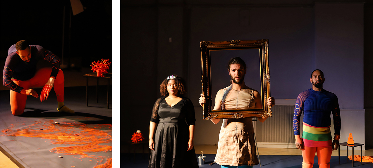 stills from The Sound of Infection: Ruggerio with orange paint, Magician holding frame flanked by Ruggerio and Alcina