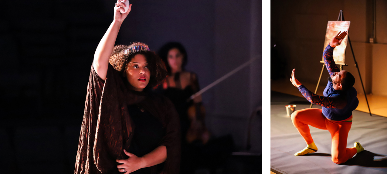 stills from The Sound of Infection: Alcina raises arm, Ruggerio kneels