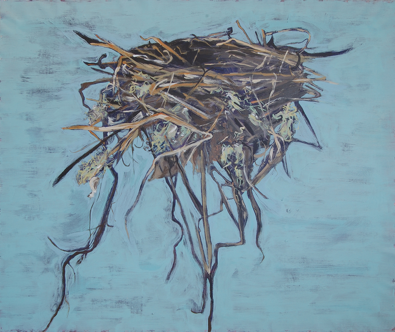 painting of a nest on a blue background