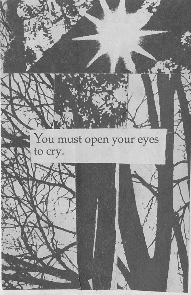 "zine page printed on newsprint with sun and trees and pasted text ""You must open your eyes to cry"""