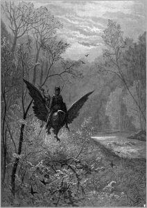 an etching of Ruggerio riding a hippogryph and landing on Alcina's island
