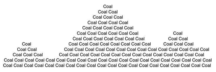 """Coal"" repeated to form shape of mountains – black text on white background"