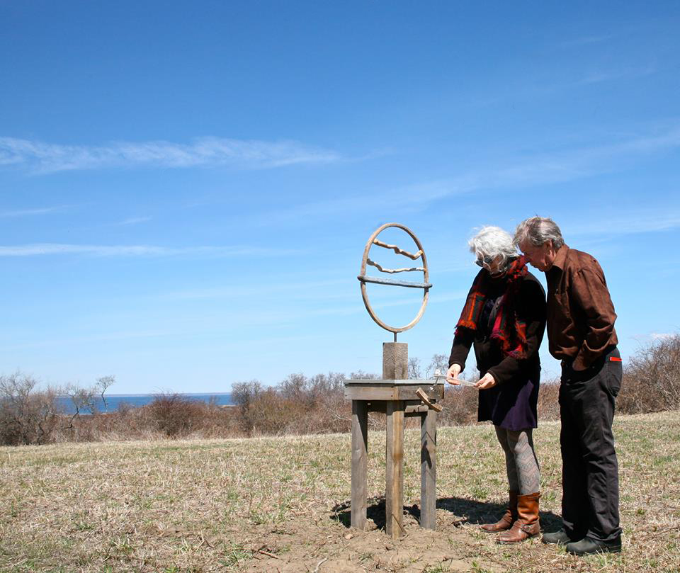 two people visiting an installation as part of the Block Island Poetry Project