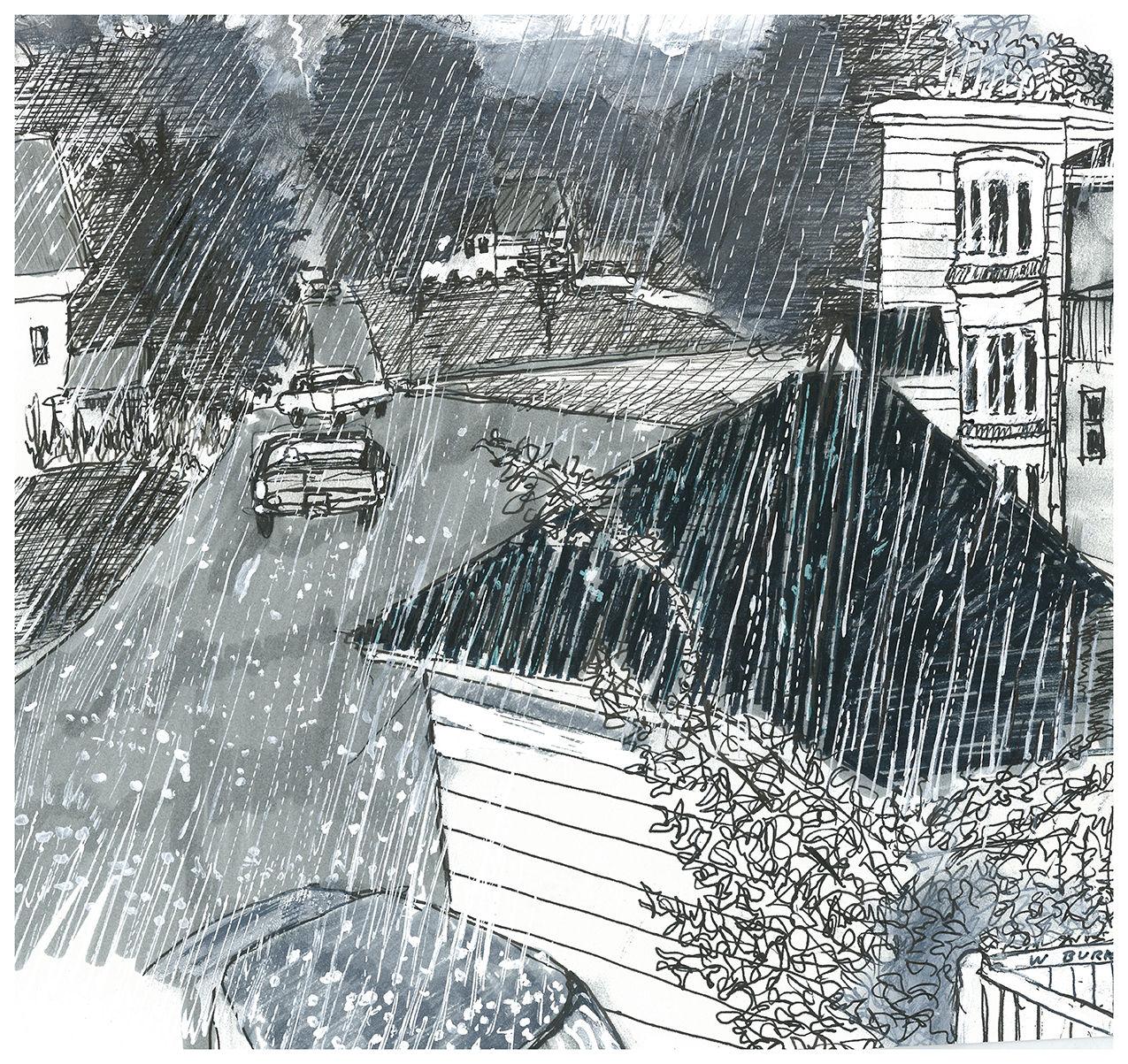 Rainy Day by Wayne F Burke: ink drawing of a small town in the rain
