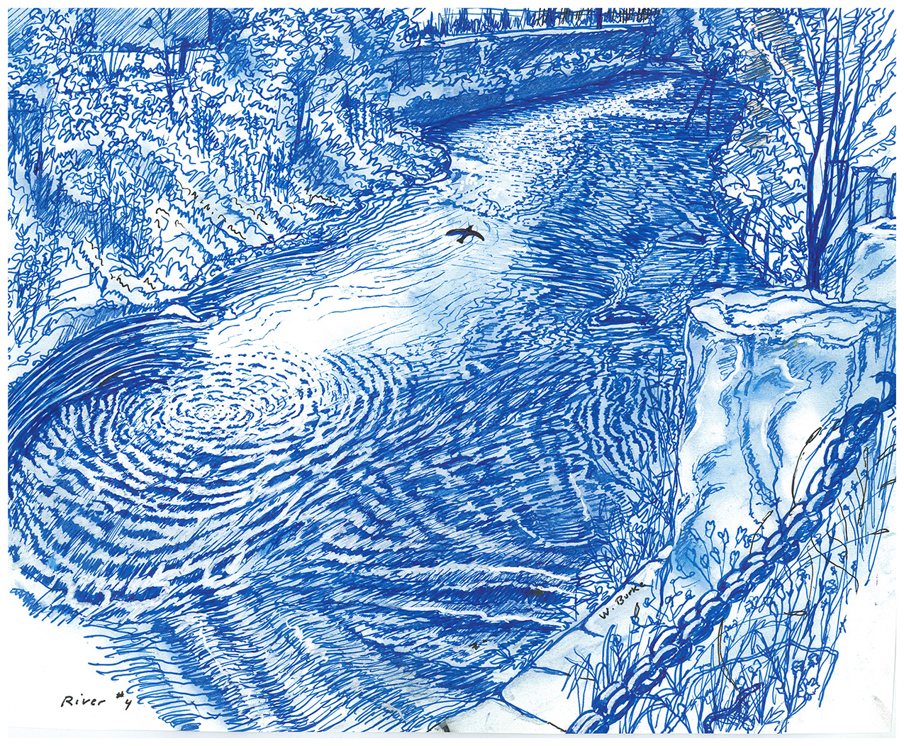 River #4 by Wayne F Burke: blue drawing of a river