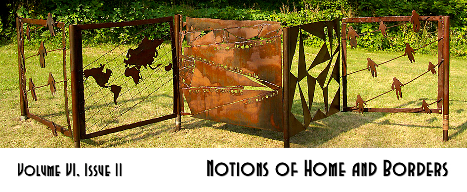 "section header: photo of a sculpture with text ""Notions of Home and Borders"""