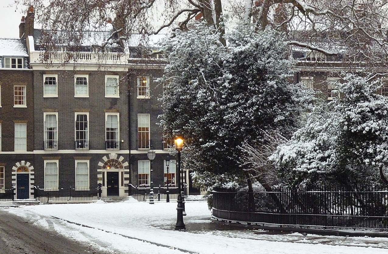 photo of Bedford Square in winter with snow