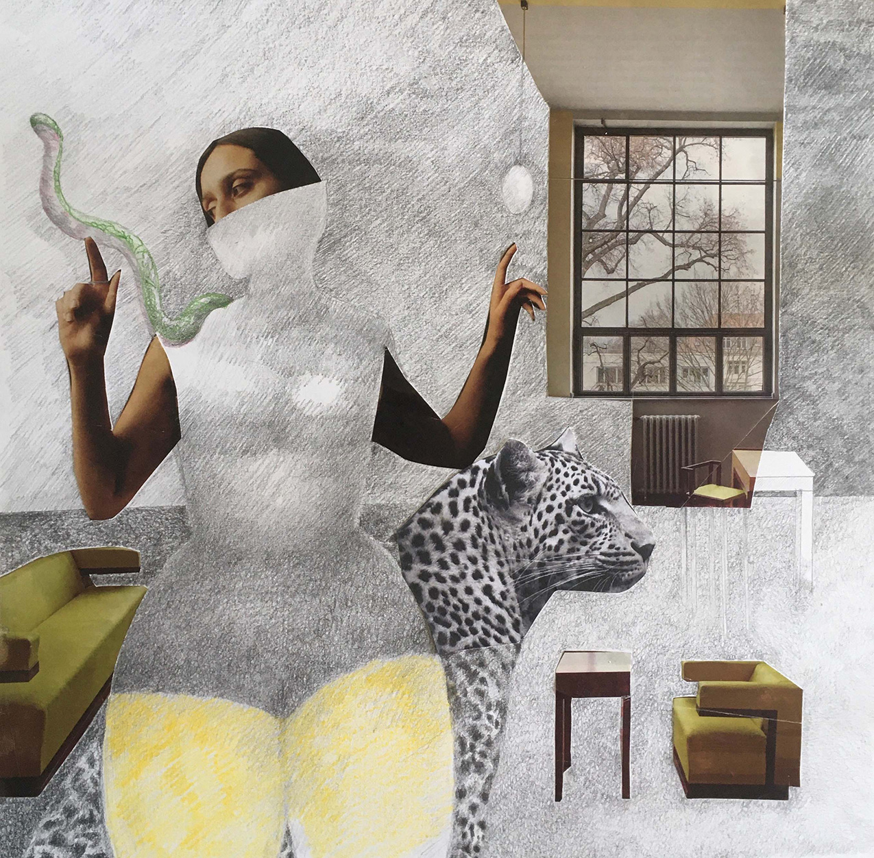 collage featuring found paper imagery and pencil sketches. features a woman with a snake on her shoulder, a leopard, a window with a barren landscape, and interior furniture.