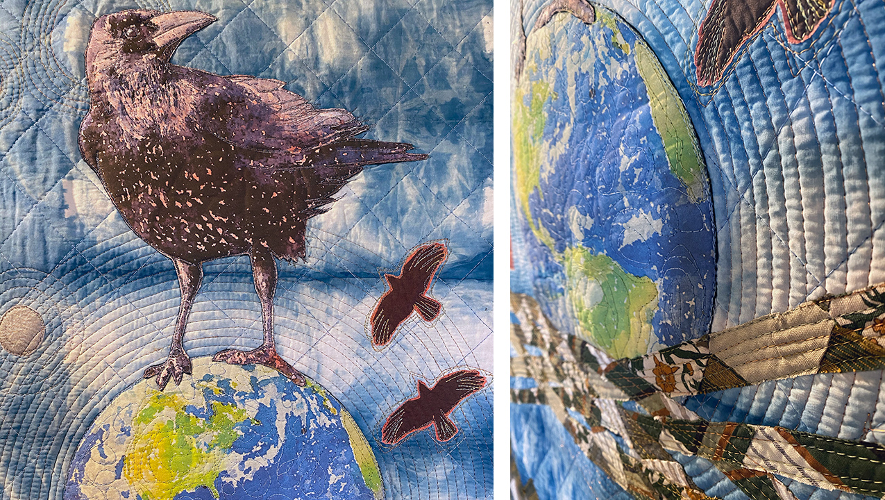 quilt detail of globe and ravens