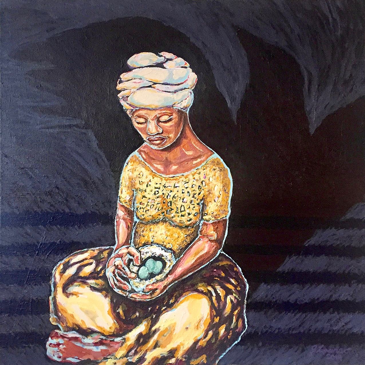 Black woman cradling a nest of eggs, casting a shadow of a bird