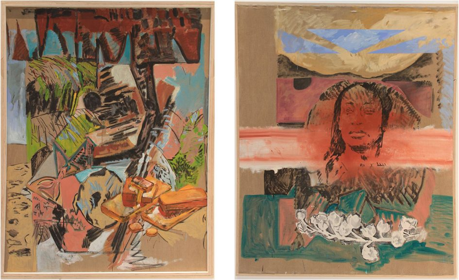 diptych of painting in warm browns and other earth tones. abstract shapes, landscapes, a woman's face.