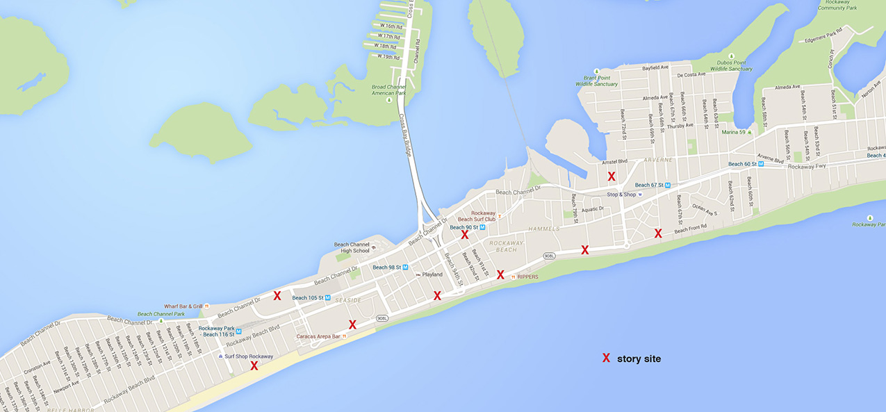 map of the Rockaways in Queens, New York with red Xs marking story sites