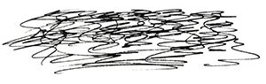 small black and white sketch of scribbles representing soil