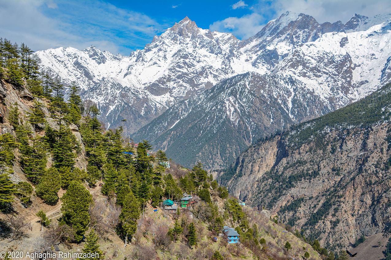 Kinner Kailash Mountain Range looms over the Kinnaur Valley